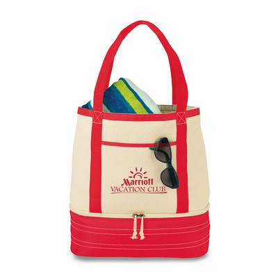 Coastal Cotton Insulated Tote - Red-Natural