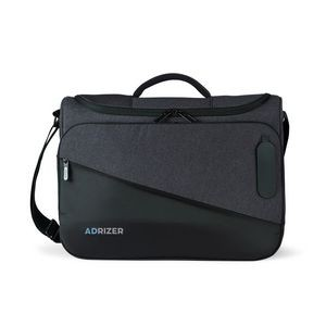 Life in Motion® Linked Charging Computer Messenger Bag - Black-Dark Grey Heather